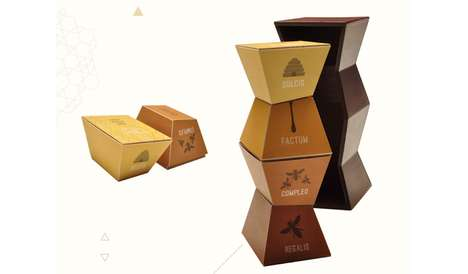 Towering Treat Cartons - Ovvio Cupcakes Packaging is Structurally Inspired by Honeycomb Forms