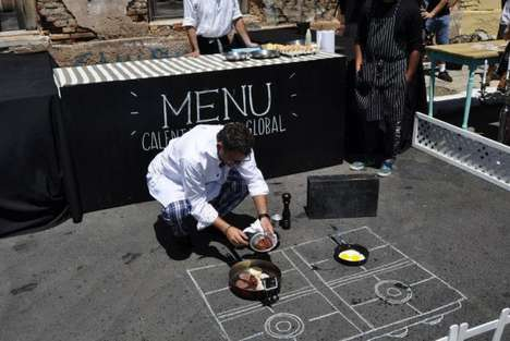 Asphalt-Cooked Meals - The WWF Global Warming Menu Cooks Food on Hot Pavement