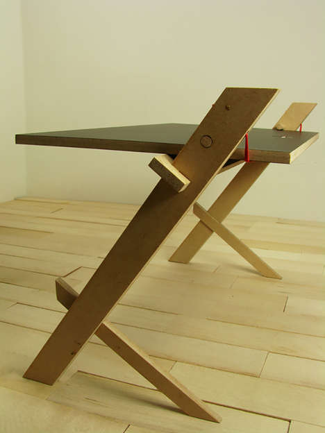Rope-Secured Desks - The String Table is Held Together by an Extended Red Cord