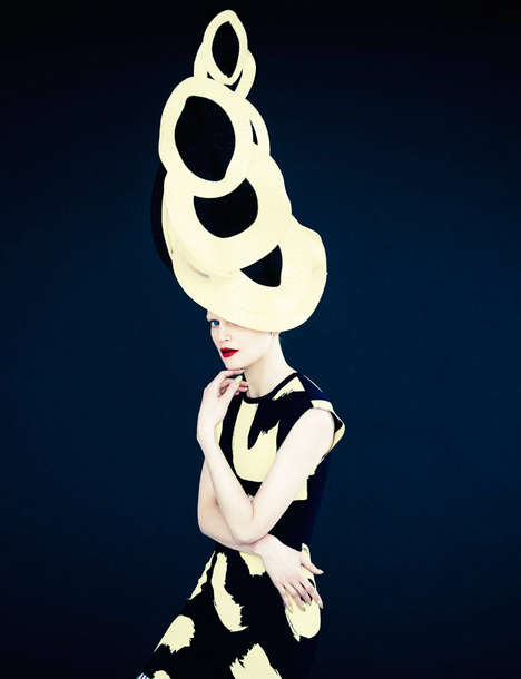 Whimsical Hat Editorials - Erik Madigan Heck Shot Guinevere van Seenus for Muse Magazine Spring 2014