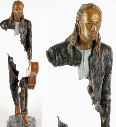 Vanishing Figure Sculptures - Bruno Catalona's Bronze Human Figure Sculptures are Unique