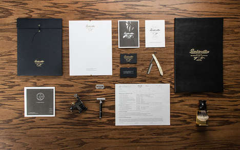 Macho Hipster Parlor Branding - Barbierattoo's Rebranded Masculine Identity is Sharp and Sleek