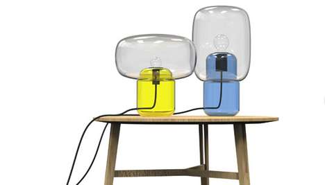 Intersecting Glass Illuminators - The Sara and Bob Lamps Feature Beautiful Two-Part Blown Bodies