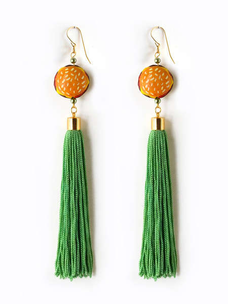 Food Embelished Tassel Earrings - The Foodie Tassel Earrings by Nophar Haimovitz are Humorous