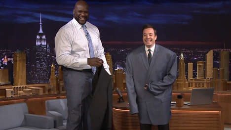 Oversized Basketball Suit Swaps - Jimmy Fallon and Shaquille O'Neal Have a Clothing Swap