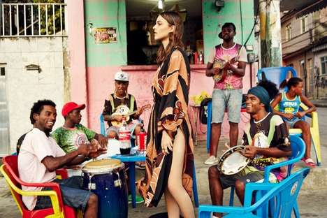 Chromatic Brazilian Fashion Editorials - The Grazia Germany Rio Photo Shoot is Cultured and Vibrant