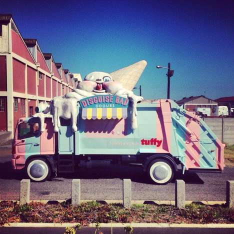 Garbage Truck Makeovers - The Saatchi & Saatchi Garbage Ice Cream Truck Marketing Campaign is Sweet