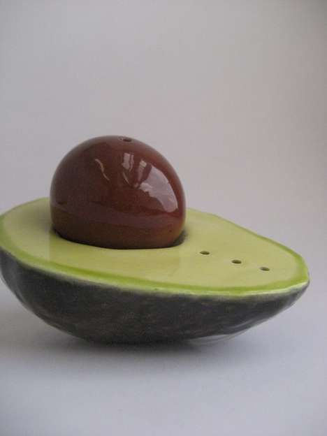 Cored Fruity Seasoning Shakers - The Avocado Salt and Pepper Shaker is Practical and Elegant