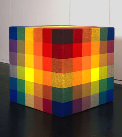 Quilted Cube Installations - This Cube Sculpture by Jim Isermann Resembles a Rubik