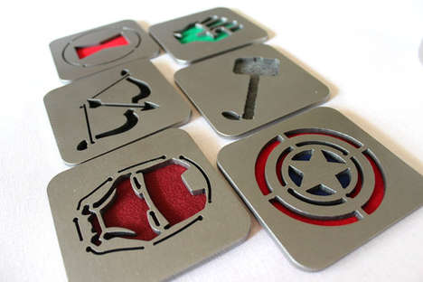 Steel Superhero Insignia Coasters - Defend Your Table from Beer Rings with These Comic Book Coasters