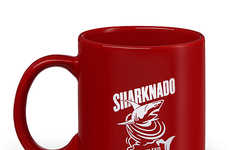 Humorous Movie Predator Cups - The 'Caution Sharknado Area Mug' References the Infamous Sci-Fi Film