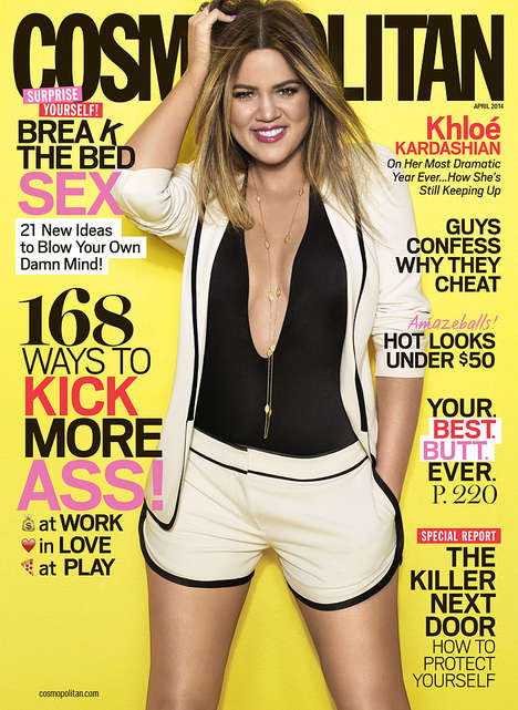 Controversial Reality Star Covers - Khloe Kardashian Wows on the Cover of Cosmopolitan April 2014