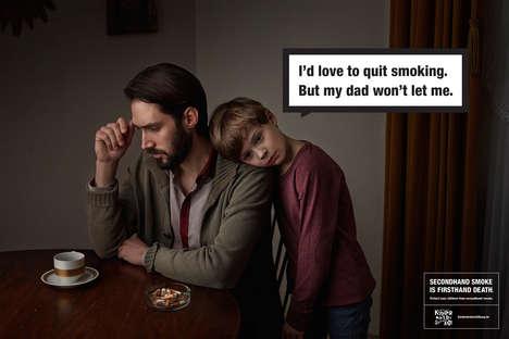 Child Smoker Ads - Dangers of Secondhand Smoking Addressed in Deutsche Kinderkrebsstiftung Campaign