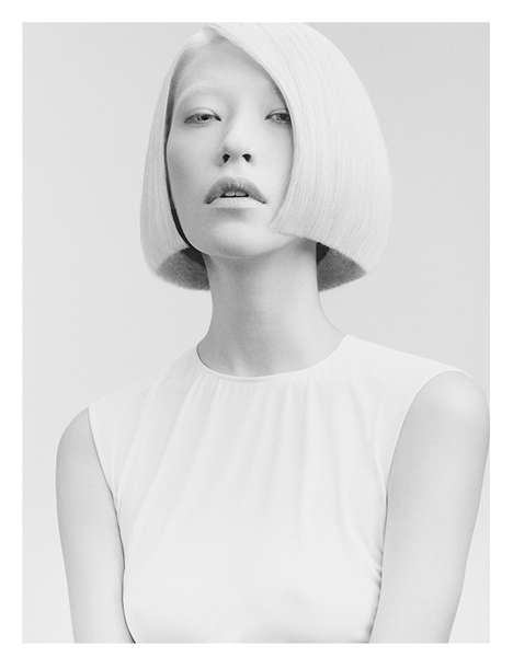 Minimalist Hairstyle Ads - The G+B Beauty Salon Campaign has a Futuristic Vibe