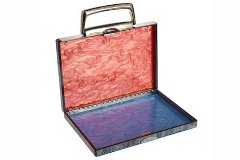 Beautiful Pearlescent Briefcases - This Work Bag is Perfect for a 5 P.M. Adventure
