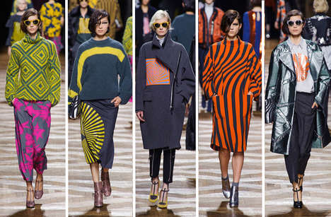 Psychedelic Print-Happy Collections - The Dries Van Noten Fall 2014 Collection is Trippy and Quirky
