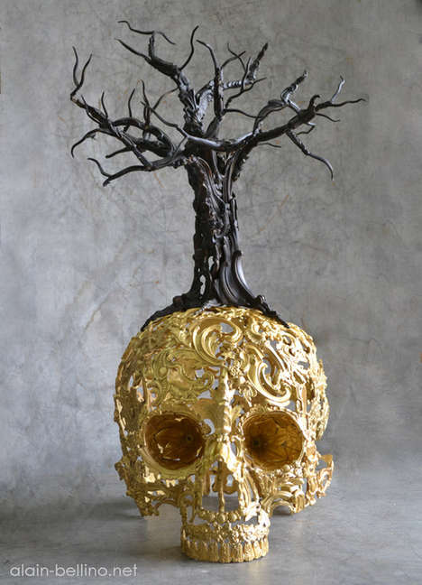 Intricate Skeletal Sculptures - These Skull Artworks Were Created by Sculptor Alain Bellino