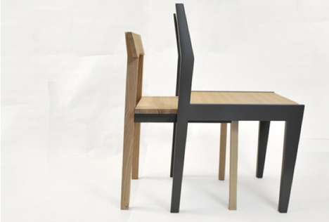Surreal Nesting Seating - When Stacked, the Twain Chairs Appear to Be a Single Piece of Furniture