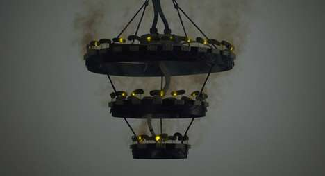 Deadly Fruit Light Fixtures - This Chandelier Runs on Pickle Power