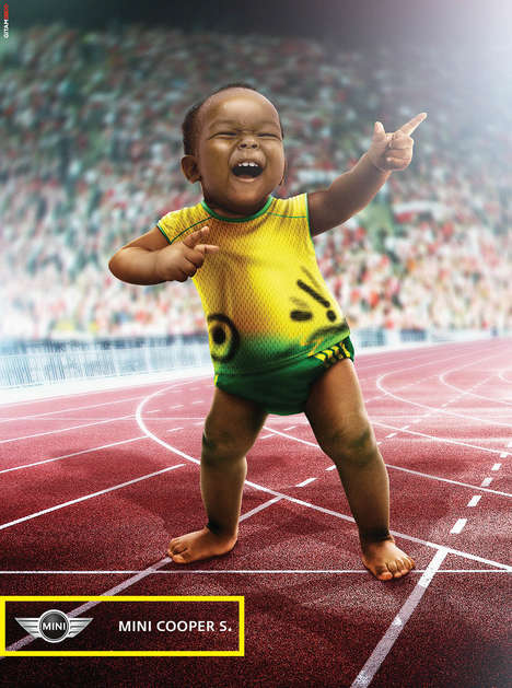 Baby Olympic Sprinter Ads - The Mini Cooper S. Campaign Depicts a Miniature Usain Bolt