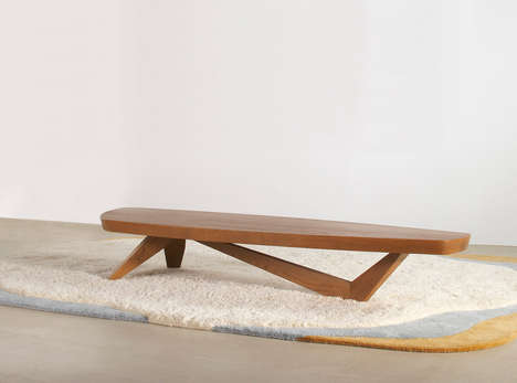 Surfboard-Like Furniture - The Moby Coffee Table by Angela Adams is Made Out of Solid Wood