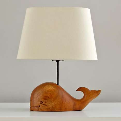 Marine Creature Wooden Lamps - Light Up the Night with the Thar She Glows Whale Table Lamp