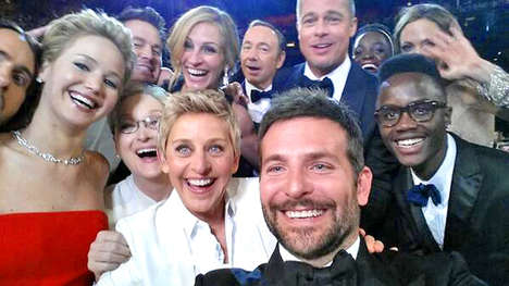 Record-Breaking Celebrity Selfies - The Ellen DeGeneres Selfie Taken at the Oscars Breaks Twitter