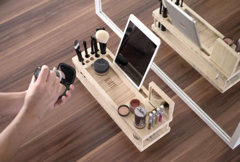 Bamboo Makeup Docking Stations - The iSkelter Beauty Station Charges Devices and Stores Makeup