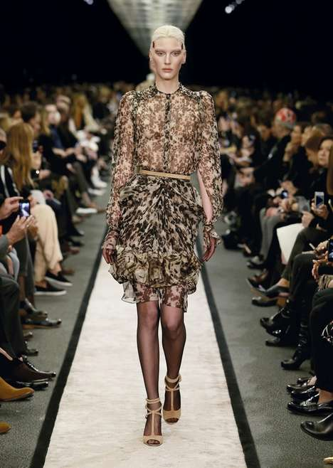 Sheer Print-Happy Glam Collections - The Givenchy Fall 2014 Runway Collection is Classy and Powerful