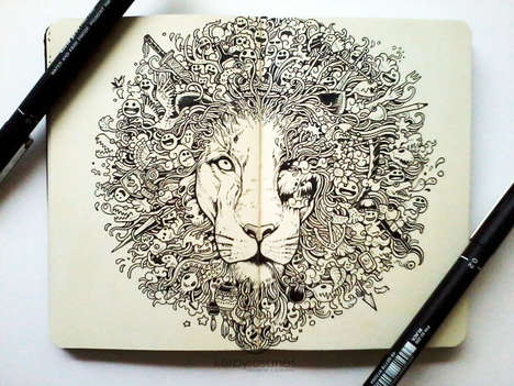 Majestic Animal Doodle Illustrations - Kerby Rosanes's Pen Doodle Illustrations are Majestic