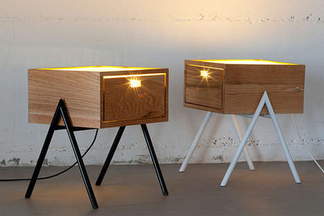 Bright Bedside Tables - Misko Table Lamp is a Hybrid Illuminating Surface and Storage Compartment