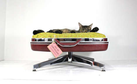 Vintage Suitcase Cat Loungers - The Suitcase Cat Bed from Atomic Attic Puts Your Cat on a Pedestal
