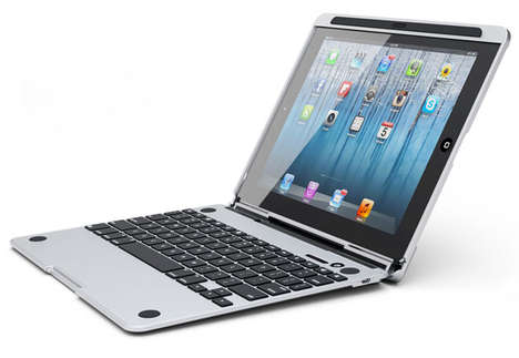 Laptop-Like Tablet Cases - CruxENCORE iPad Cover is an Aluminum Sheath with an Integrated Keyboard