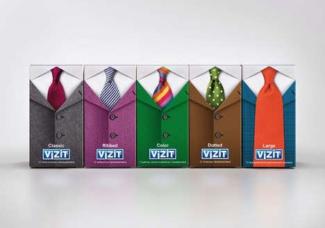 Dapper Prophylactic Packaging - Vizit Condoms Boxes Feature Aptly Patterned Essential Accessories