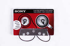 Retro Headphone Branding - Earbuds Cassette Packaging Houses Audio Accessories in an Old Tape