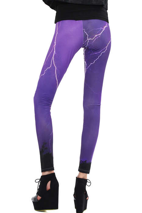 Electrifying Storm Print Tights - Show Your Love for Thunderstorms with Lightning Print Leggings