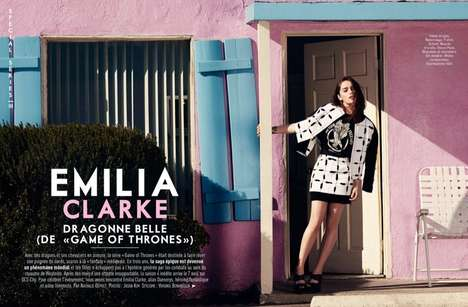 Playful Motel Editorials - The Glamour France April 2014 Issue is Covered by Emilia Clarke