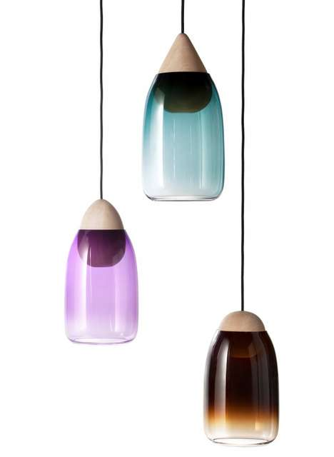 Glass-Wood Lighting - The Liuku Pendant Lamp by Maija Puoskari is Gorgeously Contemporary