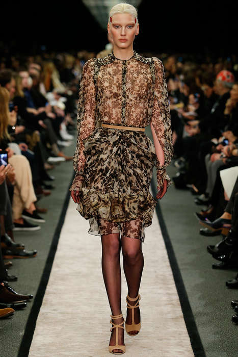 Floral-Printed Chiffon Collections - The Givenchy Fall 2014 Collection Exposes Skin Through Chiffon