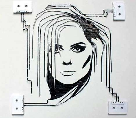 Celebrity Cassette Sketches (Update) - A Celebrity Portrait Crafted From Cassettes is a Fine Skill