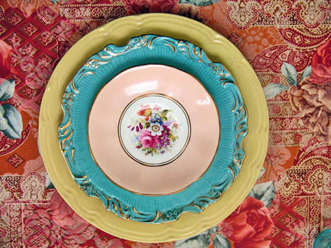 Psychedelic Floral Print Designs - Lulaland's Vintage Fabrics and China are Stunning