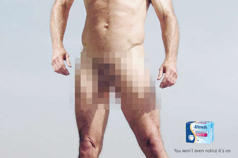 Censored Adult Diaper Ads - The Attends Super Plus Underwear Campaign Makes You Feel Naked
