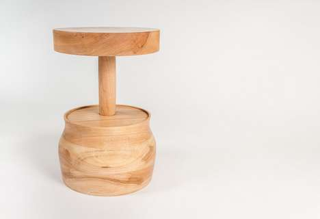 Honey Drizzler Seating - The Sweet Turned Stool is a Stable One-Legged Perch with a Broad Base