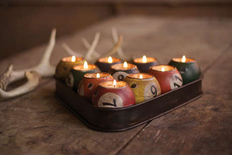 Upcycled Billiard Tea Lights - The Pool Ball Candle Holder Puts a Manly Spin on a Romantic Night