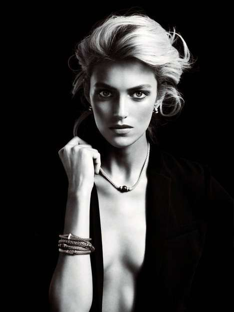 Elegantly Minimalist Jewelry Ads - The Apart Diamond Spring 2014 Campaign Stars Anja Rubik