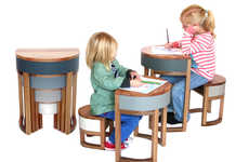 Nesting Children's Furniture - Tables Four Two by Sheree Bucton Saves Space in Family Homes