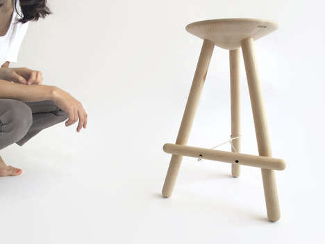 Rope-Supported Seating - The Tubabu Stool Gains Stability from a Twisted Cord and a Dangling Dowel