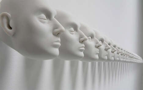 Morphing Mannequin Head Installations - Linea de Horizonte by Javier Perez Goes In and Out of Detail