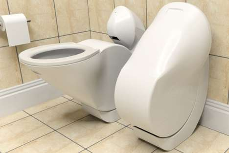 Tuck-Away Toilets - The Iota Folding Toilet Curls Upright When it Flushes to Save Space and Water