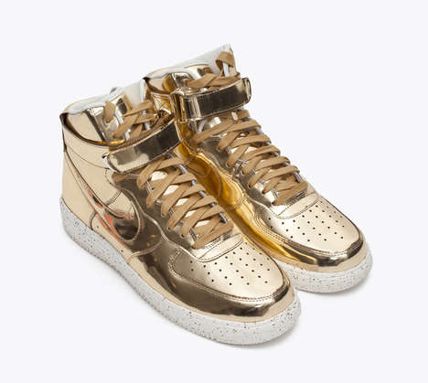Liquid Metal Footwear - The Lunar Force 1 Hi SP Are Golden Sneakers for the Summer Season